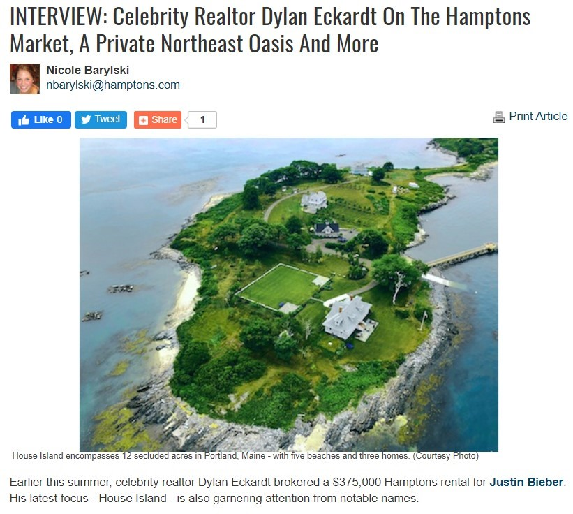 Hamptons.com feature on House Island via interview with Dylan Eckardt