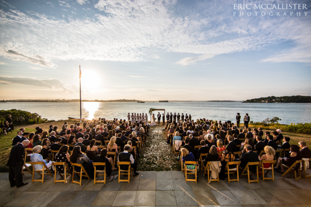 A waterfront wedding at sunset on House Island Portland Maine